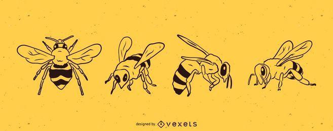 Conjunto de ilustración de línea de abeja