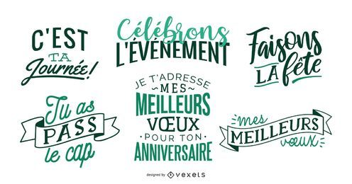 French birthday celebration lettering set