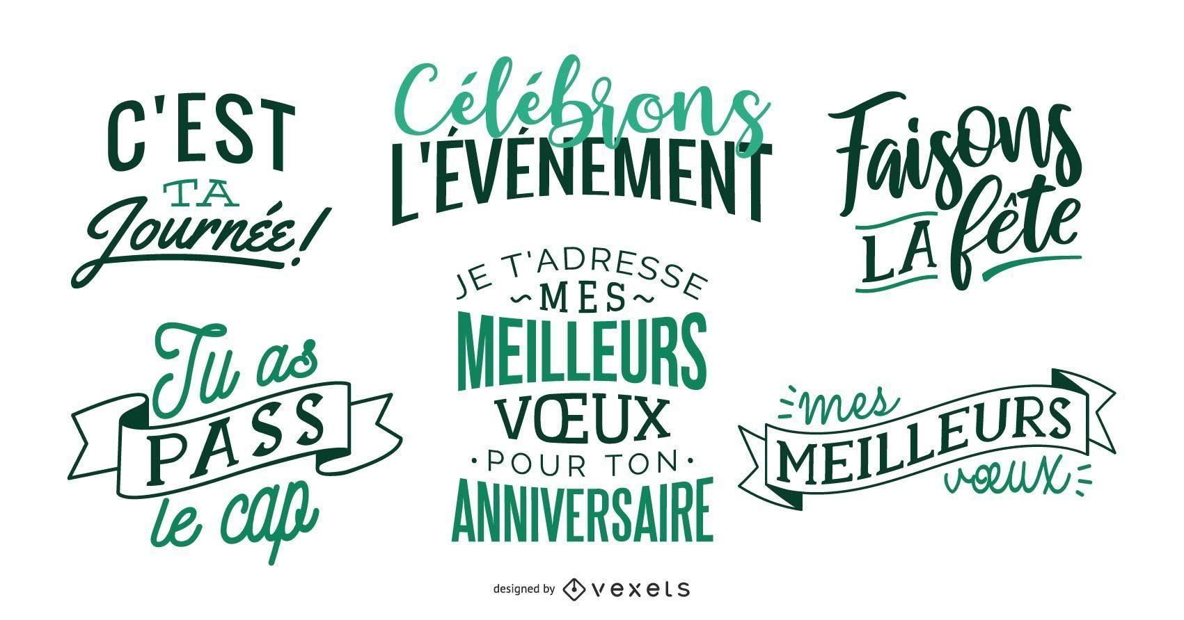 French birthday celebration lettering set