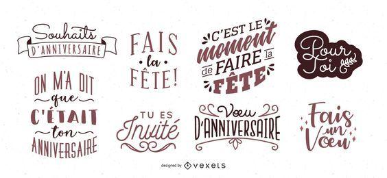 Französischer Geburtstagsbeschriftungssatz