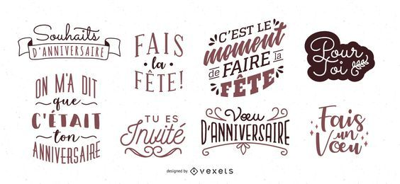 French Birthday Lettering Set