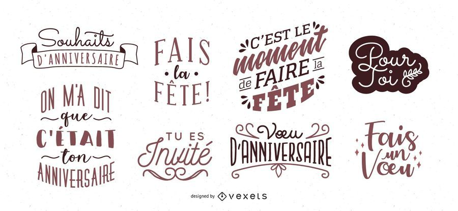 French Birthday Lettering Set