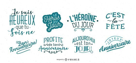 Conjunto de francês de letras de aniversário