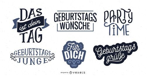 Birthday lettering German set