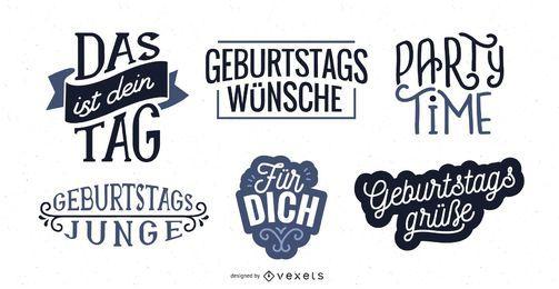 Deutscher Satz der Geburtstagsbeschriftung