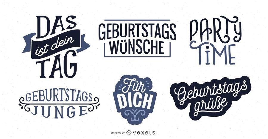 Birthday lettering German set
