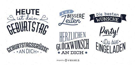 Conjunto de letras de desejo de aniversário alemão