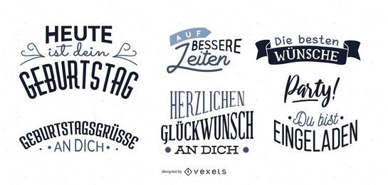 German Birthday Wish Lettering Set