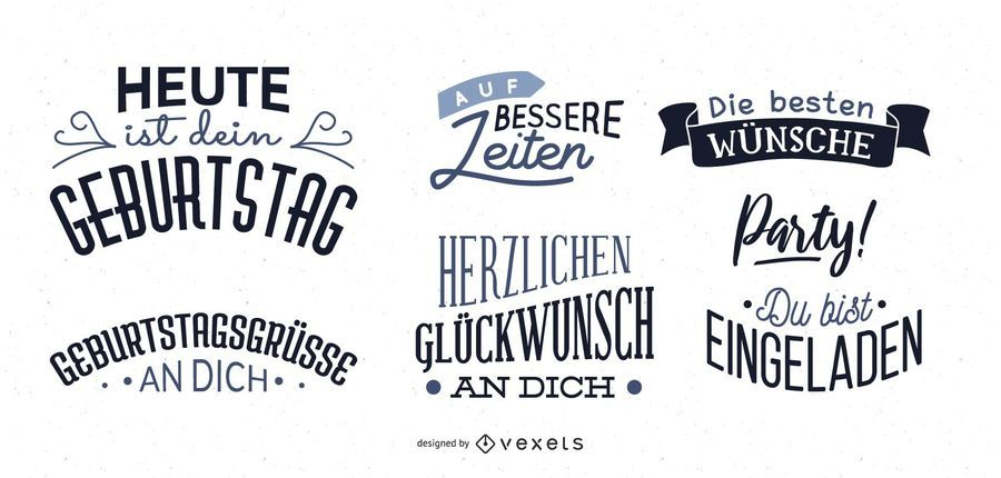 Conjunto de rotulação de desejo de aniversário alemão