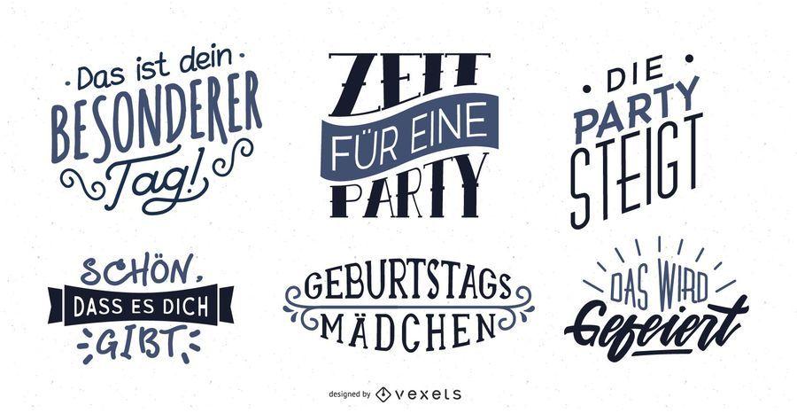 Conjunto de letras de saludo de cumpleaños alemán