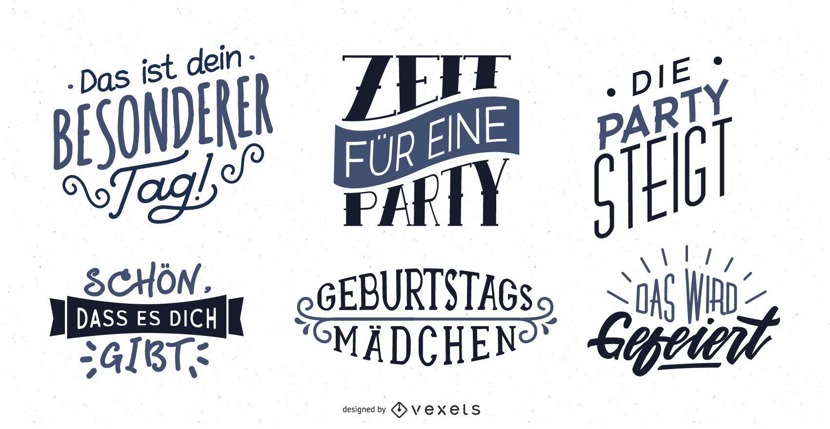 Conjunto de letras de felicitación de cumpleaños alemán
