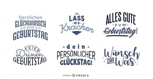 Birthday Greeting Lettering German Set