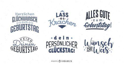Conjunto de letras de saudação de aniversário alemão