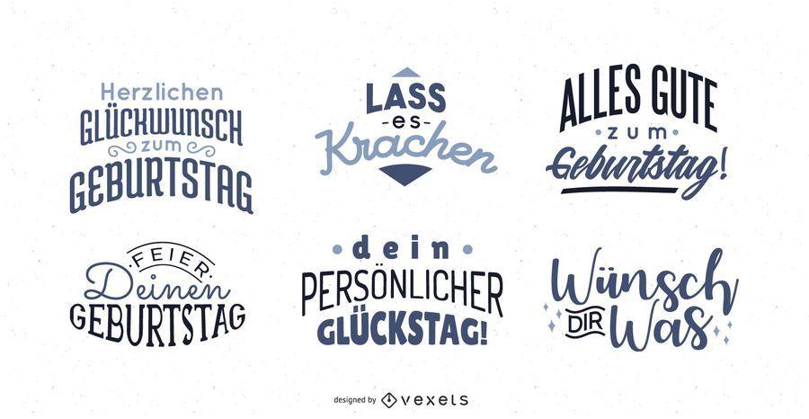 Saudação de aniversário rotulação conjunto alemão