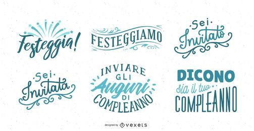 Birthday Greeting Lettering Italian Set