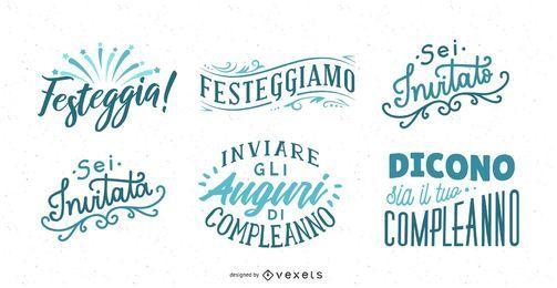 Saludo de cumpleaños letras italiano conjunto