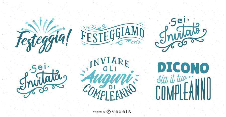 Birthday Greeting Lettering Italian Set