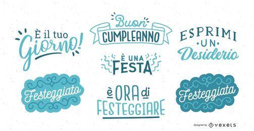 Geburtstagsbeschriftung Italienisch Set