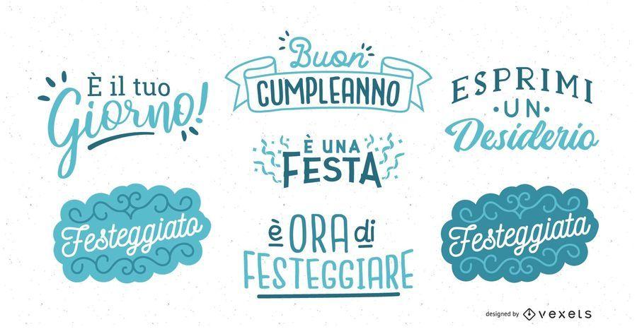 Conjunto de letras de aniversário italiano