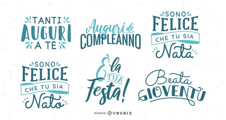Birthday Wishes Lettering Italian Set
