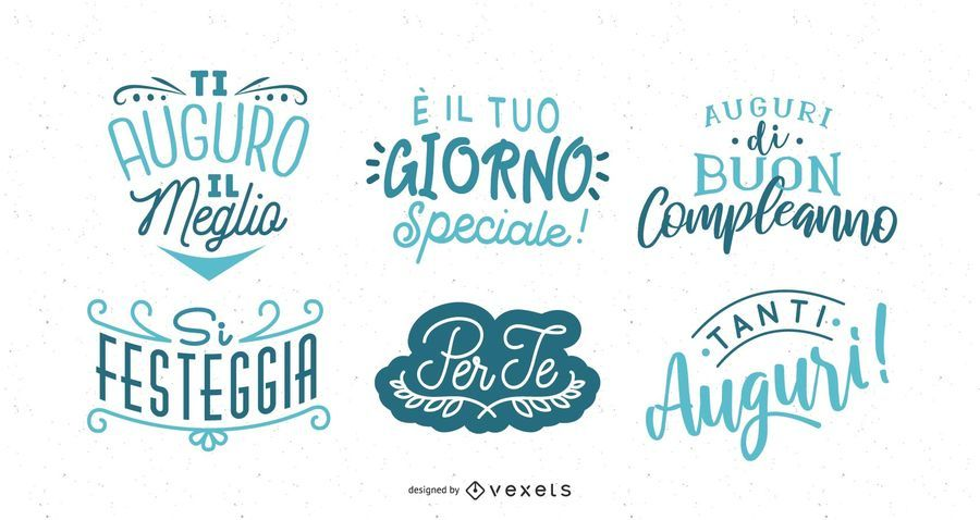 Happy Birthday Lettering Italian Set