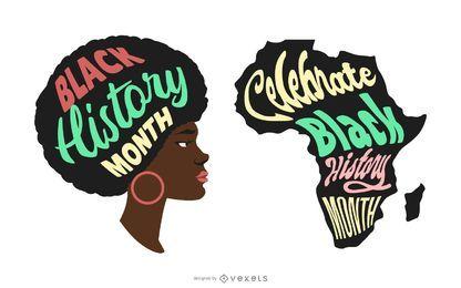 Conjunto de ilustración de mes de historia negra