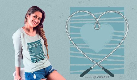 Diseño de la camiseta del amor de la cuerda que salta