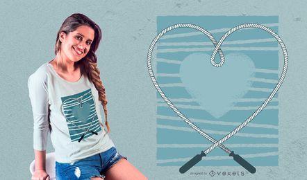 Projeto do t-shirt do amor da corda de salto
