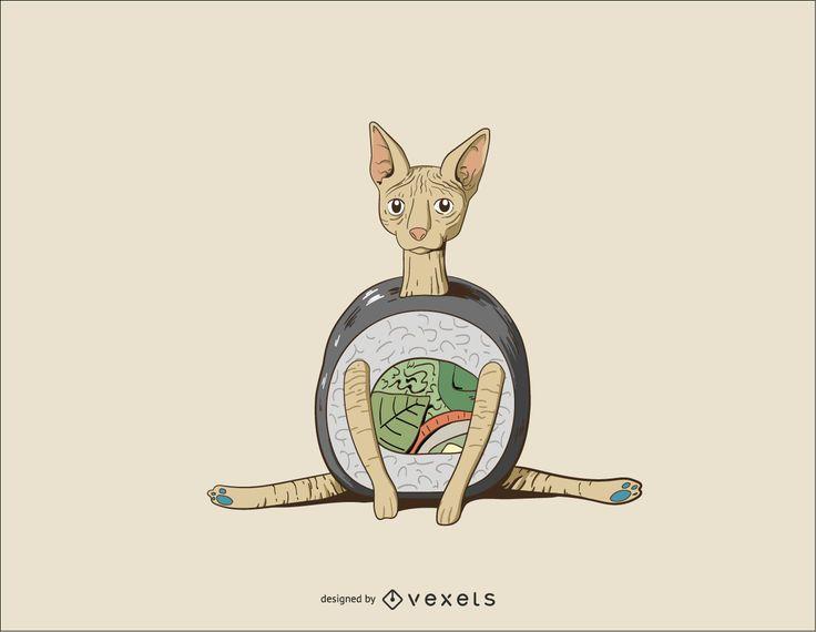 Sushi Sphynx Gato Vetor Desgin
