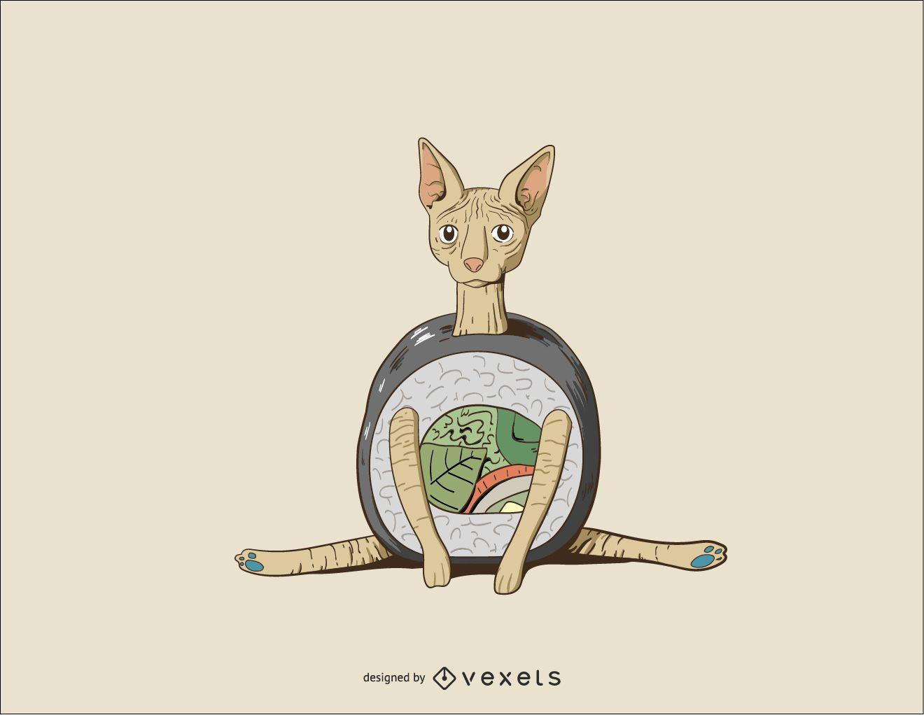 Sushi Sphynx Cat Vector Desgin