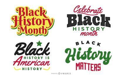Conjunto de letras de história negra