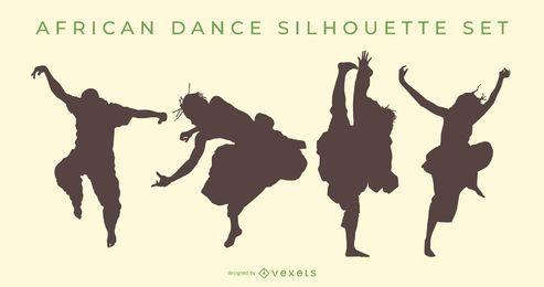Conjunto de silhueta de dança africana
