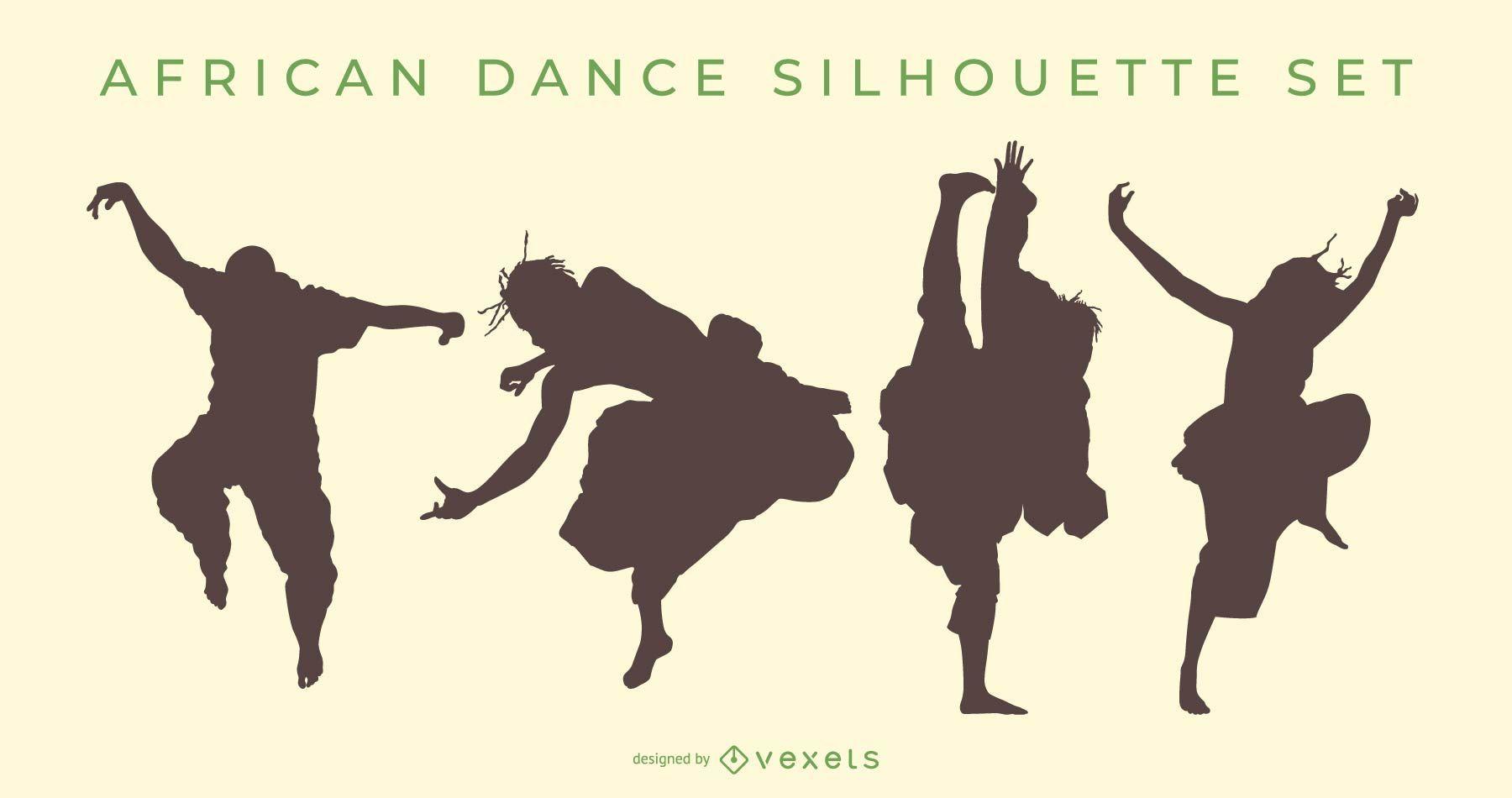 Conjunto de silueta de danza africana