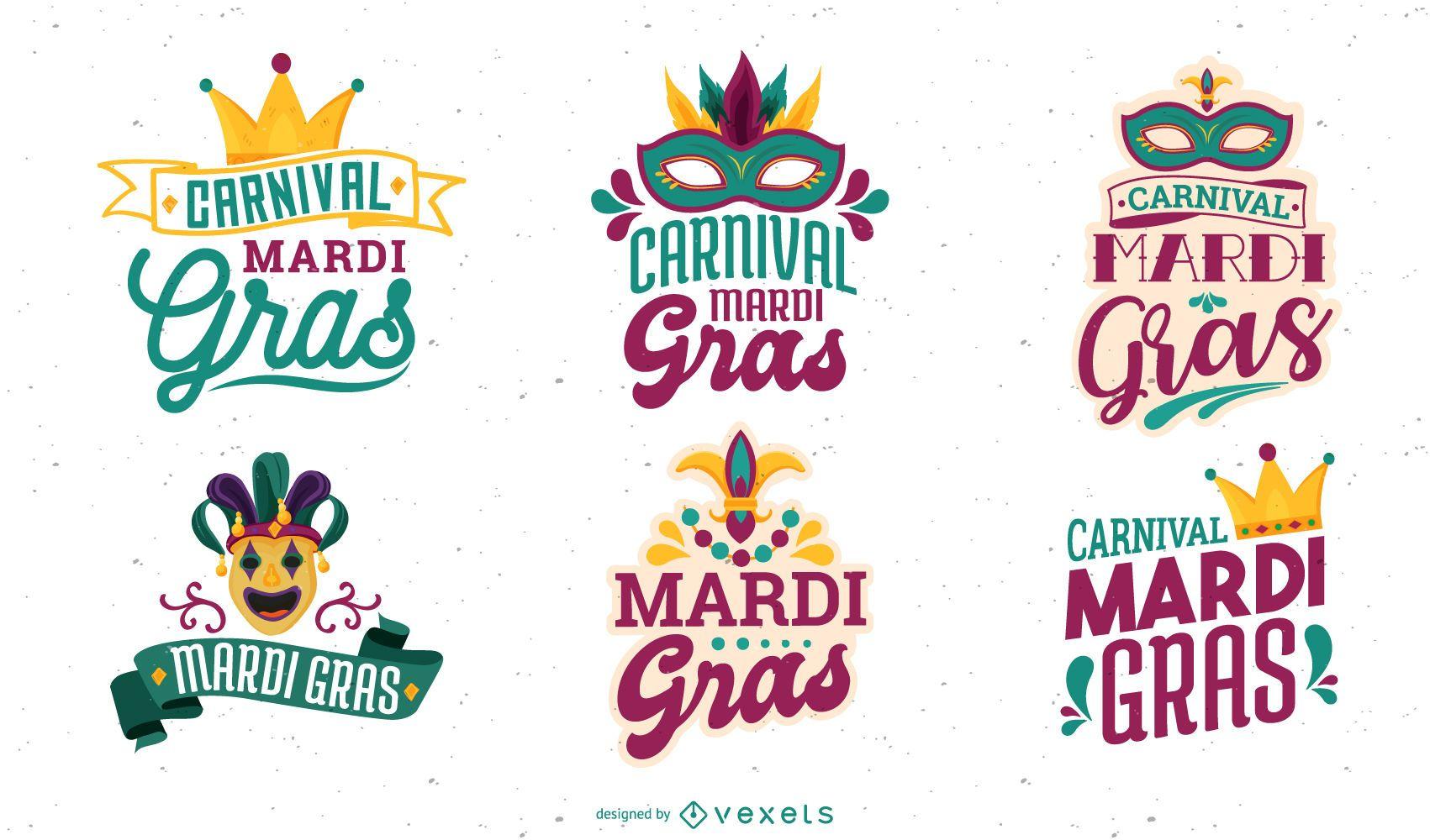 Design de letras do carnaval Mardi Gras