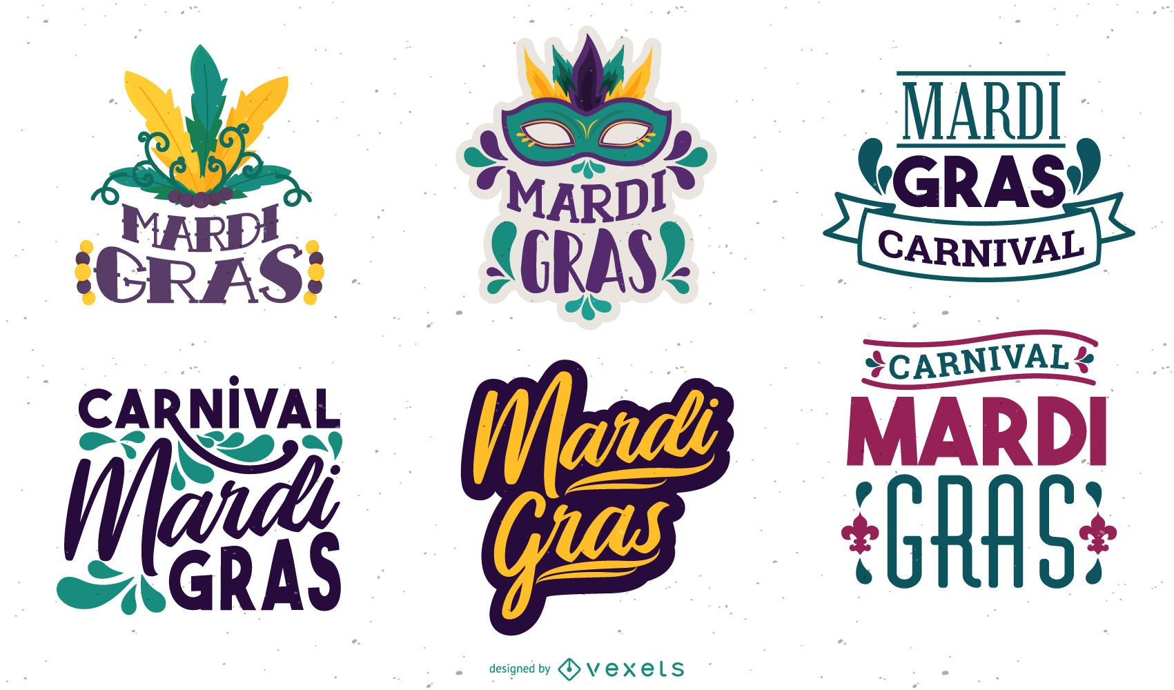 Mardi Gras Lettering Design Set