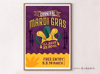 Carnival Mardi Gras Poster Design