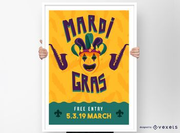 Mardi Gras Clown Poster Design