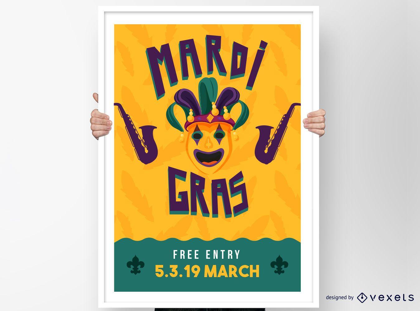 Dise?o de cartel de payaso de Mardi Gras