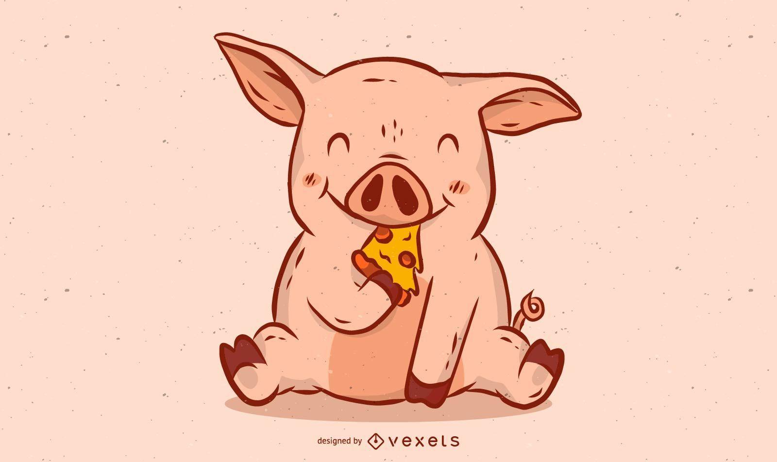 Ilustración de cerdo comiendo pizza