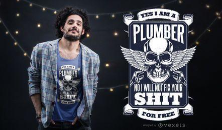 Plumber Skull T-Shirt Design