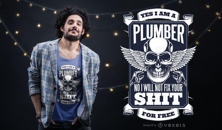 Projeto do t-shirt do crânio do canalizador
