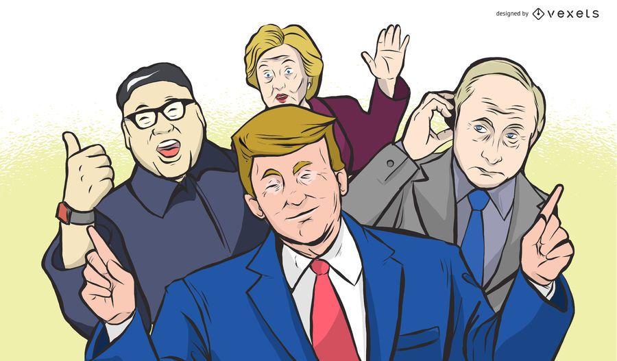 Politische Führer Wiedervereinigung Illustration Design