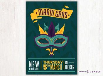 Diseño de cartel de máscara de Mardi Gras
