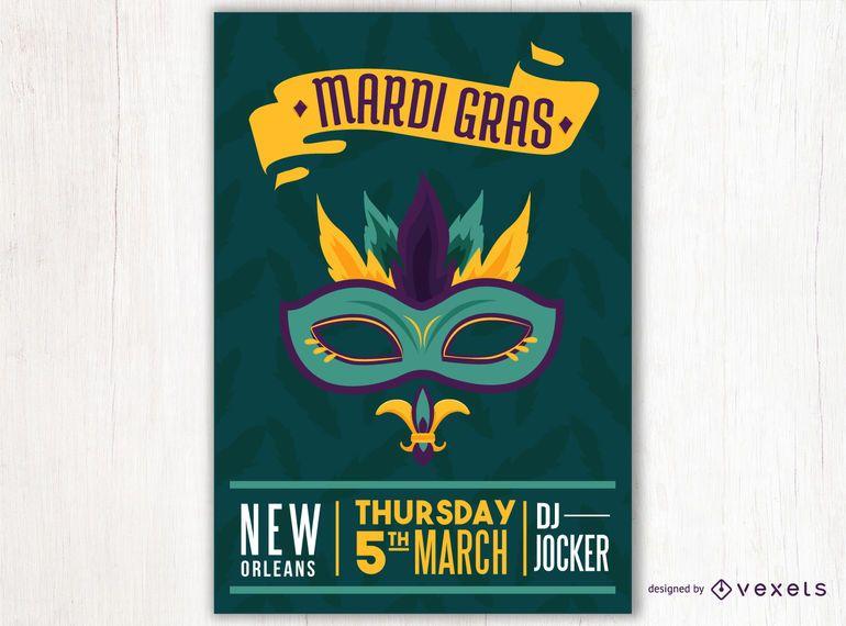 Máscara de carnaval diseño de cartel