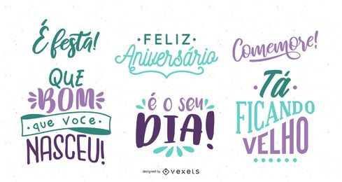 Birthday Greeting Lettering Portuguese Set