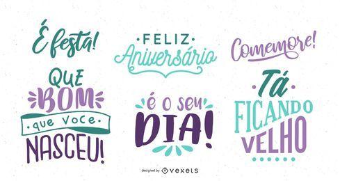 Conjunto de letras de saudação de aniversário em português