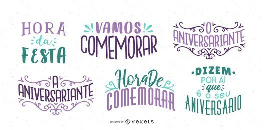 Conjunto de letras de desejo de aniversário Português
