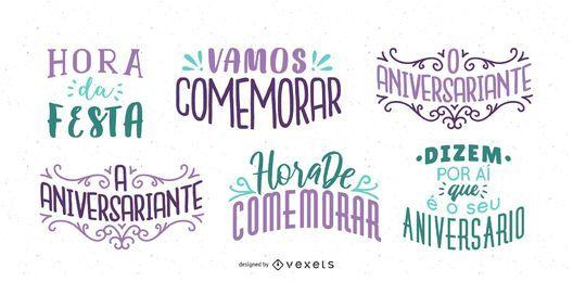 Deseo de cumpleaños conjunto de letras portugués