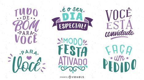 Letras de cumpleaños conjunto portugués