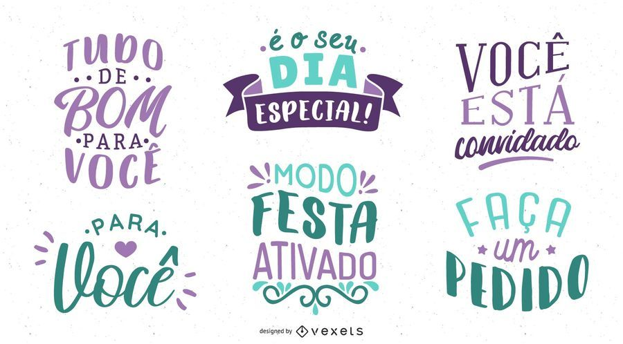 Birthday Lettering Portuguese Set